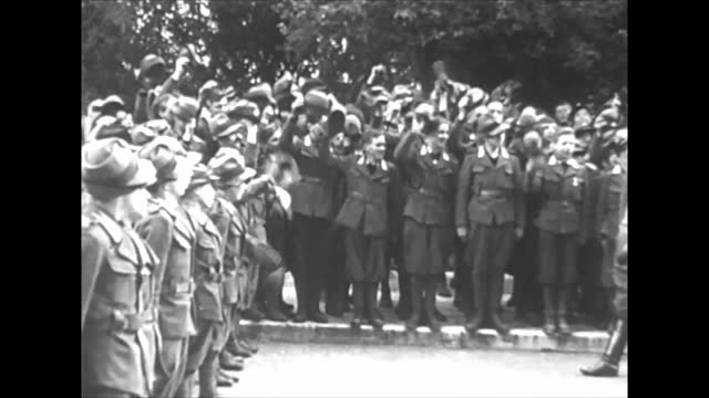 italian troops crossing french border/ benito mussolini passing by italian soldiers lines up - italy stock videos & royalty-free footage