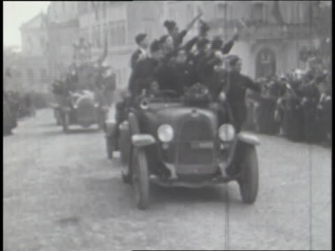 italian troops march in a parade; mussolini watches. - top hat stock videos & royalty-free footage