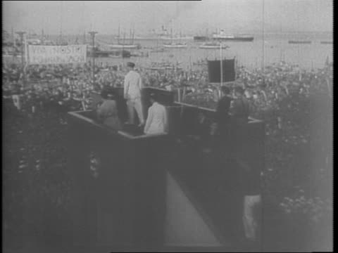 italian troops marching tanks horseback running up hill / benito mussolini riding in car through palermo crowd cheering waving banners / mussolini on... - 1943 stock videos & royalty-free footage