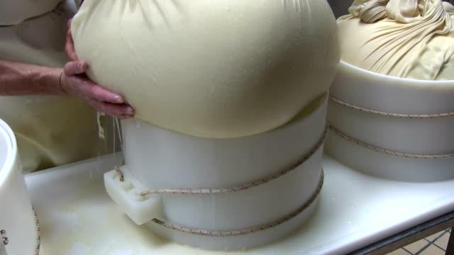 italy, cavalese, dairy, making grana cheese - カバレーゼ点の映像素材/bロール