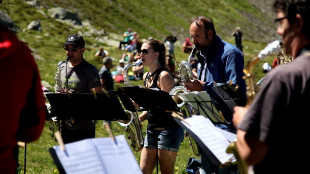 "italy, cavalese, the show ""sounds of the dolomites"" - evento video stock e b–roll"
