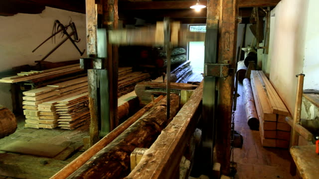 italy, cavalese, traditional water mill for cutting timber - timber yard stock videos & royalty-free footage