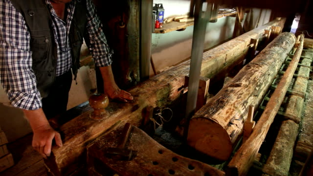 italy, cavalese, traditional water mill for cutting timber - カバレーゼ点の映像素材/bロール