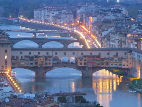 italy, florence, ponte vecchio at night, elevated view - ponte stock videos & royalty-free footage
