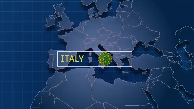 italy is pointed in world map while zoom in to coronavirus animation badge in 4k resolution - italy stock videos & royalty-free footage