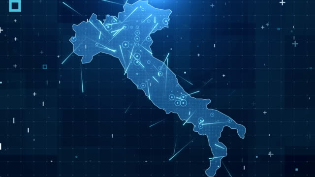 vídeos de stock e filmes b-roll de italy map connections full details background 4k - itália