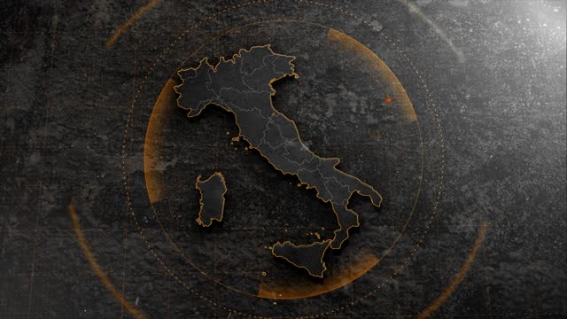 背景のhudの詳細を持つ4kイタリアマップ - イタリア国旗点の映像素材/bロール