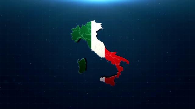国旗付き4kイタリア地図 - イタリア国旗点の映像素材/bロール