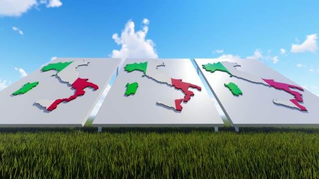 イタリアは屋外で背景をマップ - イタリア国旗点の映像素材/bロール