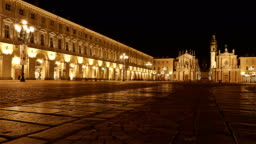 Italy, Piedmont, Night View Of Piazza San Carlo In Turin. Time Lapse
