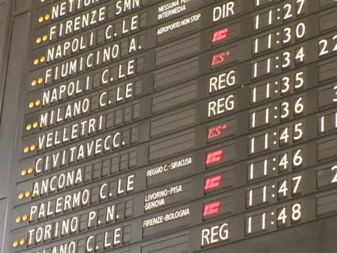 cu, italy, rome, departure board on train station - testo video stock e b–roll