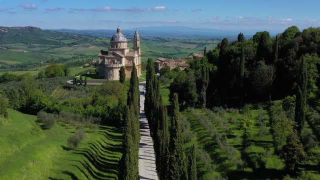 italy, tusany, cypress trees near montepulciano and sanctuary san biagio - montepulciano stock videos & royalty-free footage