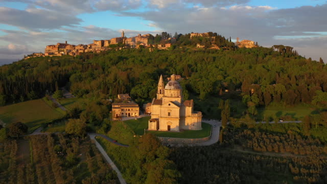 italy, tuscany, siena province, montepulciano and sanctuary san biagio - tuscany stock videos & royalty-free footage