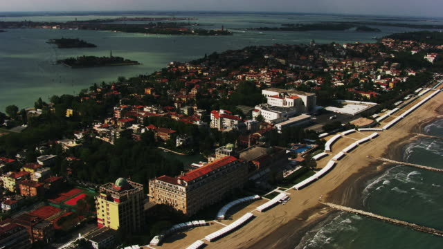 italy, venice: aerial view of lido - lido stock videos & royalty-free footage