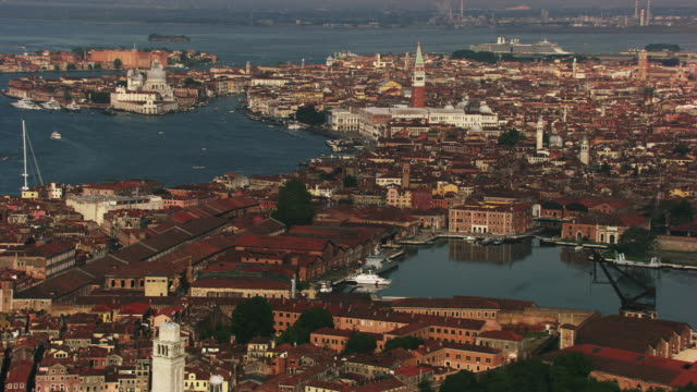 italy, venice: aerial view of san marco - panoramica video stock e b–roll