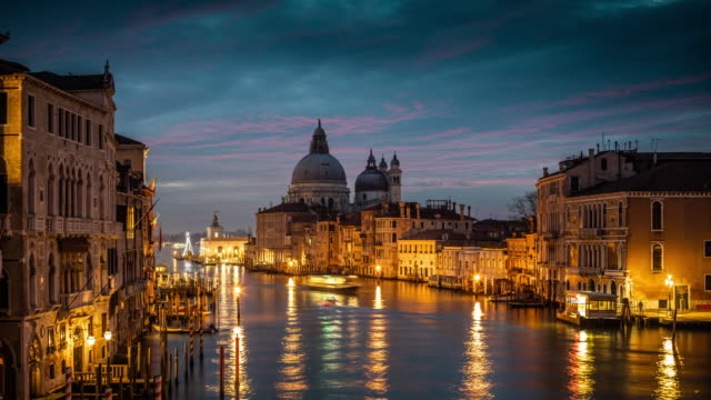 italy, venice, grand canal with santa maria della salute - grand canal venice stock videos & royalty-free footage
