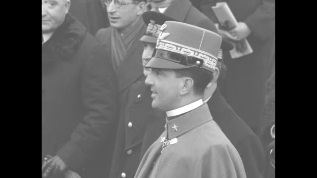 italy's crown prince umberto and other military officials wait for deposed spanish king alfonso xiii to disembark from ship upon arrival in naples... - crown prince stock videos & royalty-free footage