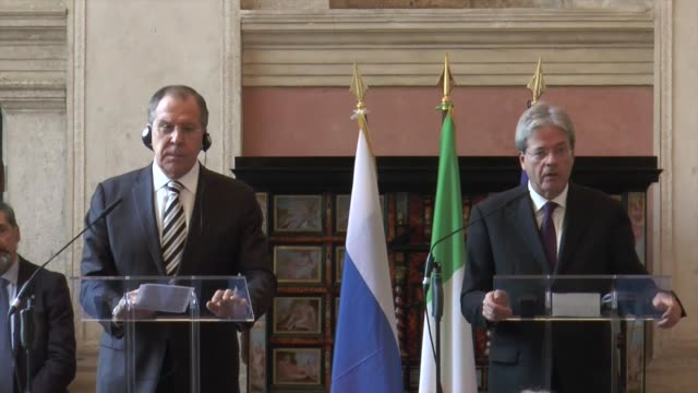 Italy's Foreign Minister Paolo Gentiloni and Russian Foreign Minister Sergey Lavrov hold a press conference after their meeting at Villa Madama...