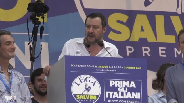 italy's hardline interior minister matteo salvini calls for a europe-wide alliance against mass immigration at a triumphant annual gathering of his... - emigration and immigration stock videos & royalty-free footage