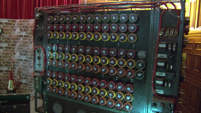 it's all part of the loebner prize for artificial intelligence contested today at the home of the world war two enigma codebreakers bletchley park in... - enigma machine stock videos & royalty-free footage
