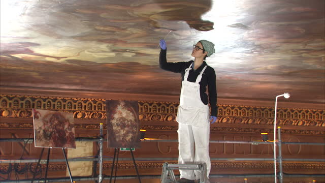 it's been called the uk's answer to the sistine chapel but the painted ceiling of the old royal naval college in greenwich has long been dulled by a... - royal navy college greenwich stock videos & royalty-free footage