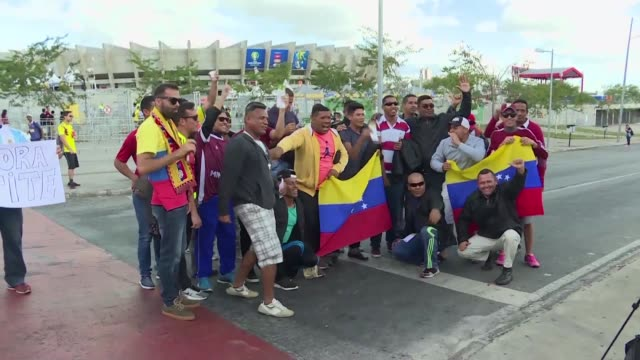 it's ninety minutes during which it's going to be like we're home says cesar bandres one of the 20 venezuela fans living in a shelter in brazil's... - belo horizonte stock videos and b-roll footage