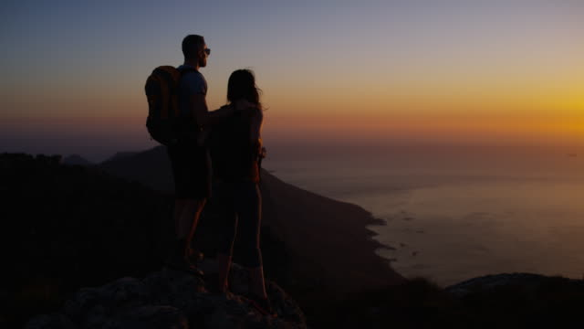 it's not a hike until you've watched the sunset - esploratore video stock e b–roll