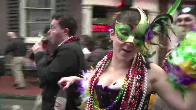 Its the biggest party of the year in New Orleans despite damp weather thousands of people took to the streets to celebrate Mardi Gras with parades...