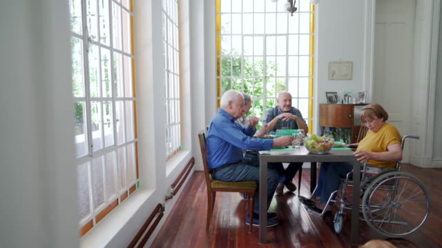 it's time for lunch in nursing home - disability inclusion stock videos & royalty-free footage