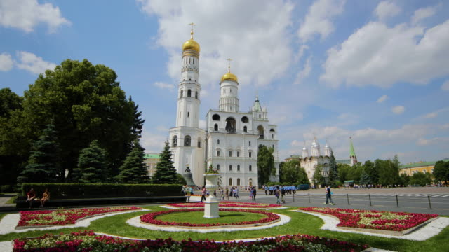 ivan the great bell tower & secret gardens, moscow, russia - bell tower tower stock videos and b-roll footage