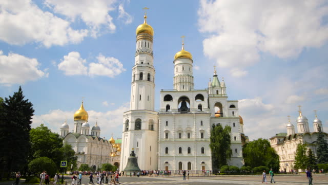 ivan the great bell tower & tsar bell, moscow, russia - cattedrale video stock e b–roll