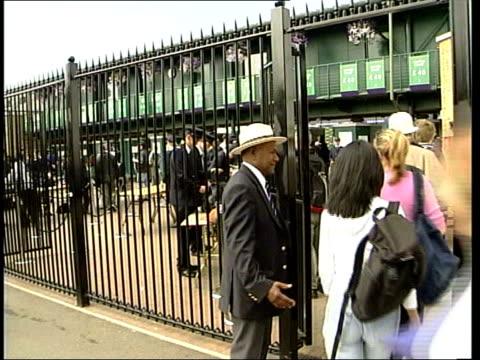 FELICITY ENGLAND London Wimbledon EXT Tennis fans queuing to see Mens Singles Final at Wimbledon between Pat Rafter and Goran Ivanisevic inclduing...