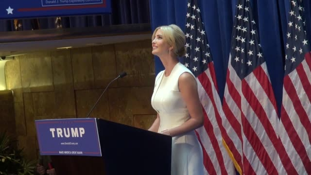 vídeos y material grabado en eventos de stock de ivanka trump introduces her father donald trump at his announcement to run for president of the united states in celebrity sightings in new york, - 2015