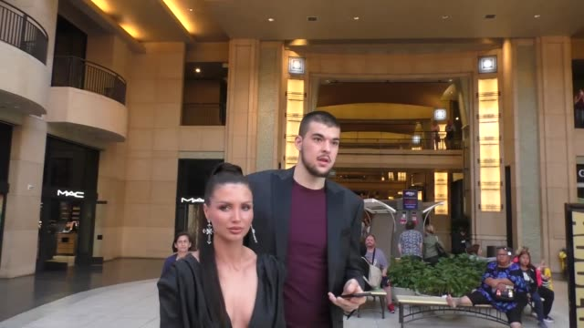 ivica zubac & kristina prisc outside the spider-man far from home premiere at tcl chinese theatre in hollywood in celebrity sightings in los angeles, - tcl chinese theatre stock videos & royalty-free footage