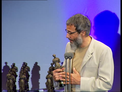Ivor Novello Awards ceremony general views and speeches Sean Gannon making speech / Audience making standing ovation / Yusuf Islam speech SOT