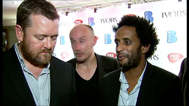 ivor novello awards pete turner interview sot elbow members posing with ivor novello awards - elbow stock videos & royalty-free footage