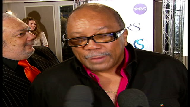ivor novello awards; quincy jones interview sot - i feel very blessed / and i feel like i'm just starting - quincy jones stock-videos und b-roll-filmmaterial