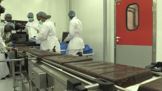 ivory coast, the world's top cocoa producer, inaugurates its first industrial scale chocolate factory - côte d'ivoire stock videos & royalty-free footage