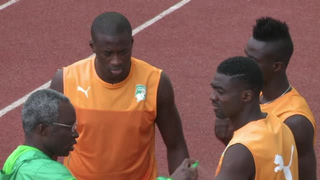 ivory coast train ahead of their quarter final clash against algeria in the africa cup of nations on sunday - côte d'ivoire stock videos & royalty-free footage