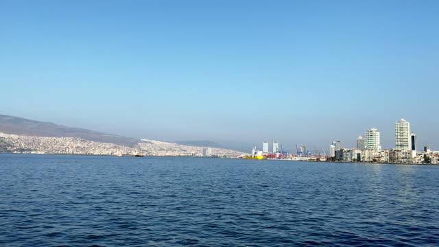 izmir city view from ferry - izmir stock videos & royalty-free footage