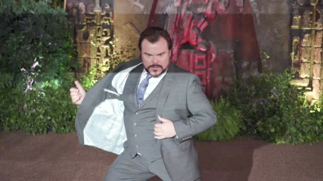 gif jack black at the 'jumanji welcome to the jungle' premiere - jack black stock videos & royalty-free footage
