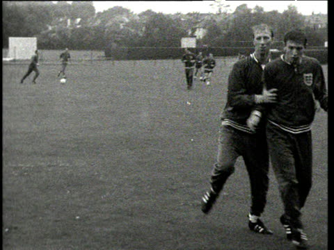 jack charlton hits shot during england training session at 1966 world cup lilleshall - jack charlton stock videos & royalty-free footage
