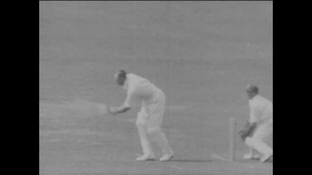 jack gregory batting for australia during the 2nd ashes test match between england and australia at lord's cricket ground in london, 26th june 1926.... - ashes test stock videos & royalty-free footage