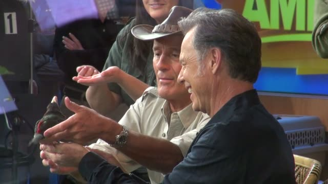 jack hanna and bruce greenwood at the 'good morning america' studio in new york on 2/21/2012 - jack hanna stock-videos und b-roll-filmmaterial