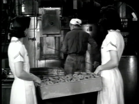 Jack Heintz Precision Industries Two women carry basket of donuts for worker male stopping work at furnace taking gloves off talking w/ women eating...