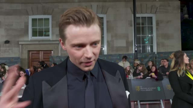jack lowden, actor - on being a bafta rising star nominee, on the difference it makes to his career and on the atmosphere at the award ceremony at... - 映画賞点の映像素材/bロール