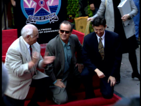 jack nicholson and johnny grant unveil jack's new star on the walk of fame. - jack nicholson stock videos & royalty-free footage