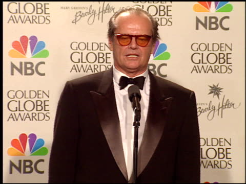 jack nicholson at the 1999 golden globe awards at the beverly hilton in beverly hills, california on january 24, 1999. - jack nicholson stock videos & royalty-free footage