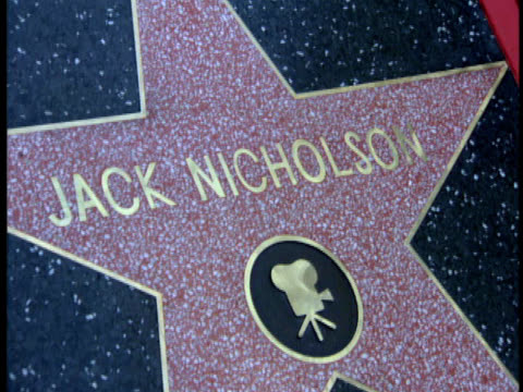 jack nicholson's star. - 1996 video stock e b–roll