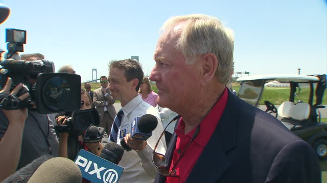 jack nicklaus addresses the media at the opening of the trump golf links trump ferry point golf course opening at trump golf links ferry point on may... - golf links stock videos & royalty-free footage